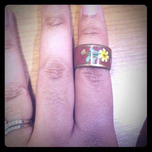 Vintage copper cloissone ring